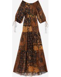 The Kooples Black And Orange Long Printed Dress - Multicolour