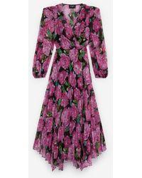 The Kooples Long Flowing Dress W/pleating & Floral Motif - Purple