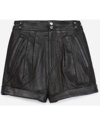 The Kooples Zwarte Leren Short Hoge Taille Met Strikken