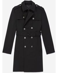 The Kooples Black Coat In Wool With Silver Buttons