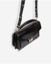 The Kooples Medium Black Emily Bag Croco Print