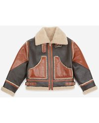 The Kooples Brown Leather Jacket With Sheepskin Details - Multicolour