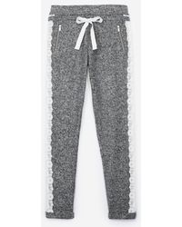The Kooples - Grey Fleece joggers With Lace - Lyst