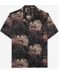 The Kooples Zwart Wijd Hemd Met Print En Hawaïkraag