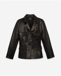 The Kooples Fitted Black Leather Jacket W/breast Pocket
