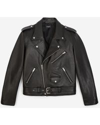 The Kooples Black Leather Jacket With Zips