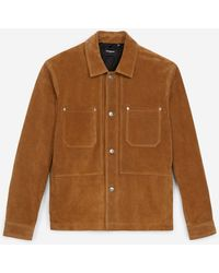The Kooples Brown Leather Jacket With Patch Pockets