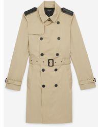 The Kooples Langer, beigefarbener Trenchcoat mit Leder-Details - Natur