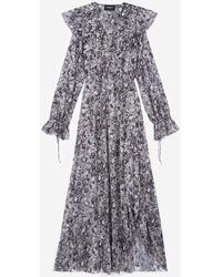 The Kooples Vestido largo negro estampado floral - Gris