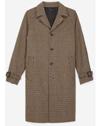 The Kooples Camel-coloured Wool Coat W/houndstooth Motif - Multicolour