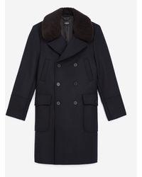 The Kooples Navy Blue Coat In Wool W/sheepskin Collar