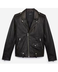 The Kooples Zipped Black Leather Biker Jacket