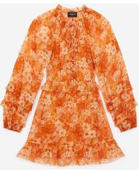 The Kooples Robe courte orange à imprimé fleuri