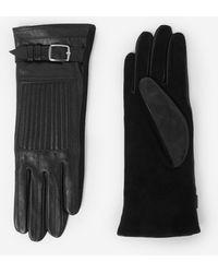The Kooples Zwarte Leren Handschoenen Met Polsgesp