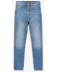 The Kooples Blauw Verwassen Jeans Met Zichtbare Knopen