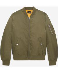 The Kooples Khaki Bomber Jacket With Orange Lining - Green