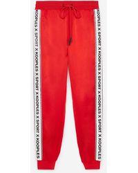 The Kooples Rode Soepelvallende Pantalon Met Logoband - Rood