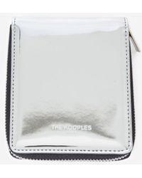 The Kooples Silver Leather Wallet With Zip - Metallic