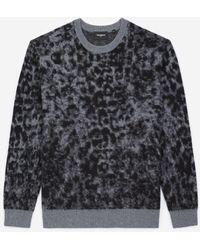 The Kooples Printed Dark Grey Jumper In Wool W/crew Neck