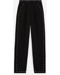 The Kooples Suit Black Trousers In Wool With Studs