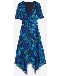 The Kooples Blue Long Printed Dress With Frills