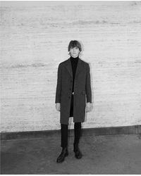 The Kooples Martingale Belt Gray Leather Collar Wool Coat