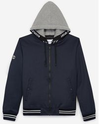 The Kooples Hooded Navy Blue Jacket In Cotton