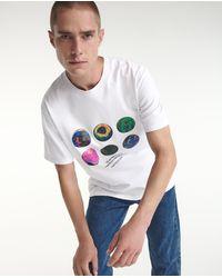 The Kooples Wit Katoenen T-shirt Met Planetenprint - Blauw