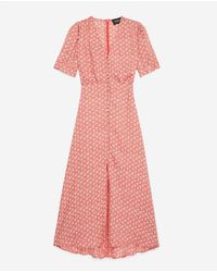 The Kooples Red Floral Long Flowing Dress W/buttons