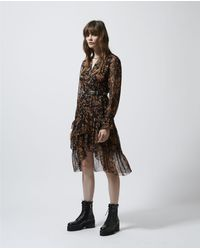 The Kooples Long Summery Dress With Print And Frills - Brown