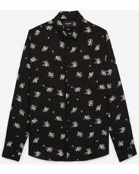 The Kooples Lang Zwart Hemd Met Bloemenprint