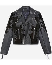 The Kooples Black Leather Biker Jacket With Studs