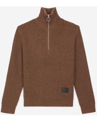 The Kooples Camel Sweater In Wool With Zipped Funnel Neck - Brown