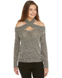 The Limited - Marled Bare Shoulder Pullover Sweater - Lyst