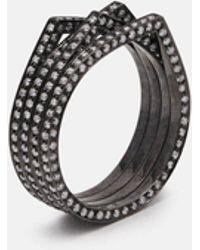 Repossi - 4 Rows Antifer Black Gold Pave Diamond Ring - Lyst