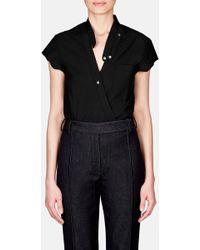 T By Alexander Wang - Cross Front Short Sleeve Poplin Bodysuit - Lyst