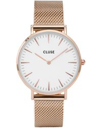 Cluse Boho Chic Mesh Rose Gold Plated White Rose Gold Plated - Metallic