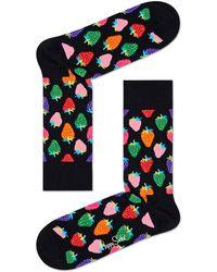 Happy Socks Strawberry Socks Zwart - Black