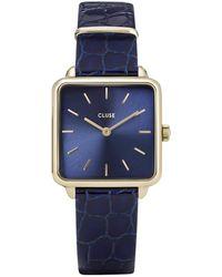 Cluse La Tetragone Leather Gold Plated Blue Blauw
