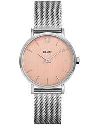 Cluse Minuit Mesh Silver Plated Rose Gold Rosegoudkleurig - Metallic