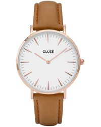 Cluse - La Boheme Leather Rose Gold Plated White - Lyst