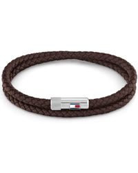 Tommy Hilfiger Double Wrap Leather Bracelet Bruin - Brown