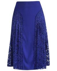 JOSEPH Cobalt Blue Pleated Lace Detail Courtney Skirt