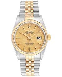 Rolex Champagne Linen 18k Yellow Gold Stainless Steel Datejust 16233 Men's Wristwatch 36 Mm - Metallic