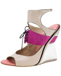 Ferragamo Multicolor Leather, Suede And Python Lucite F Wedge Sandals - Pink