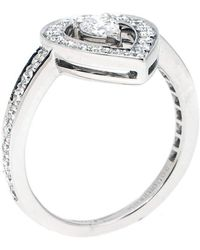 Boucheron Ava Pear Diamond 18k White Gold Ring Size 53 - Metallic