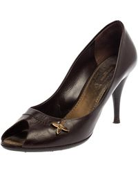 Louis Vuitton - Brown Leather Peep Toe Pumps - Lyst