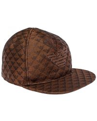Emporio Armani Brown Monogram Pattern Baseball Cap