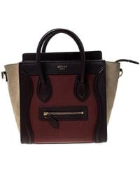 Céline - Tri Color Leather And Suede Nano Luggage Tote - Lyst