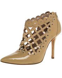 Oscar de la Renta Beige Patent Leather Laser Cut Fernanda Ankle Booties - Natural